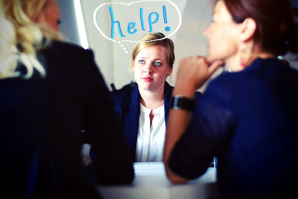 Nervous woman at networking event