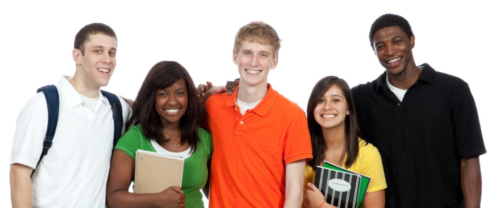 Experience Ontario - Multicultural high school and postsecondary students standing in a row, isolated on a white background.