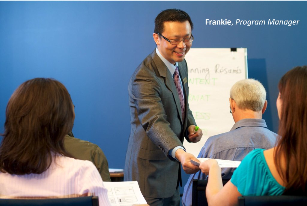 Services for Job Seekers and Employers - Frankie, a program manager of The Career Foundation, leading a training workshop.
