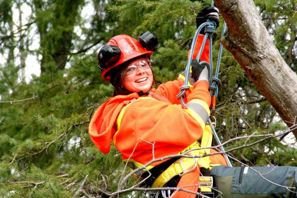 Made in the Trades - Female student participating in The Career Foundation's Pre-Apprenticeship Arborist Program.