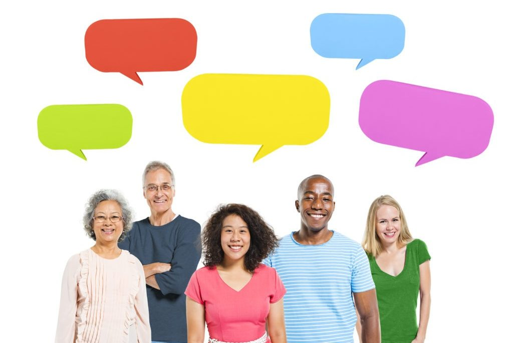 Client Testimonials - A group of people with diverse backgrounds, ages, languages and opinions.